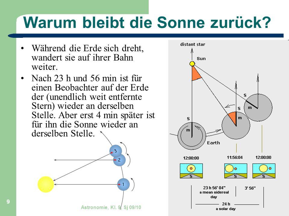 Astronomie, Kl. 9, Sj 09/10 GZG FN W.Seyboldt 9 Warum bleibt die Sonne zurück? Während die Erde sich dreht, wandert sie auf ihrer Bahn weiter. Nach 23