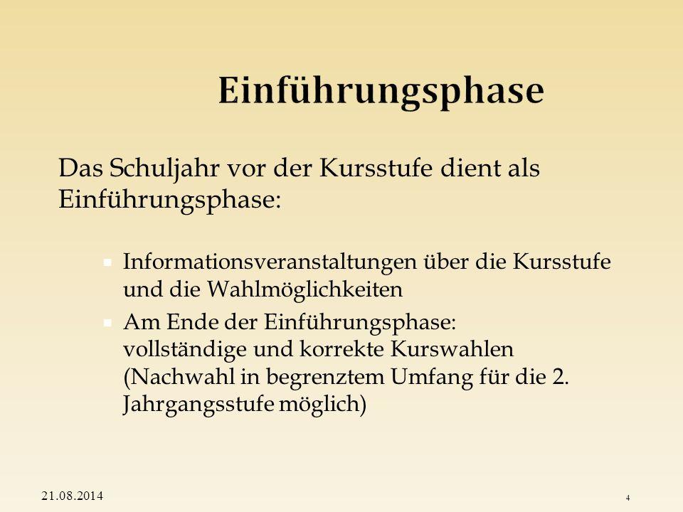 Das Fächerangebot gliedert sich in: den Pflichtbereich und den den Wahlbereich 21.08.2014 5