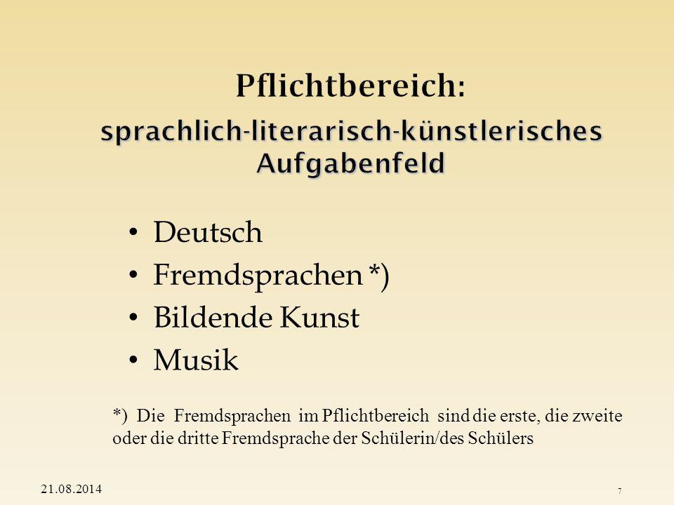 Geschichte Gemeinschaftskunde Geographie Religionslehre (ev. bzw. rk)/Ethik 21.08.2014 8