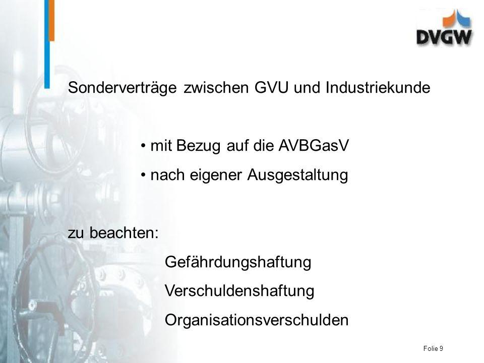 Folie 9 Sonderverträge zwischen GVU und Industriekunde mit Bezug auf die AVBGasV nach eigener Ausgestaltung zu beachten: Gefährdungshaftung Verschuldenshaftung Organisationsverschulden