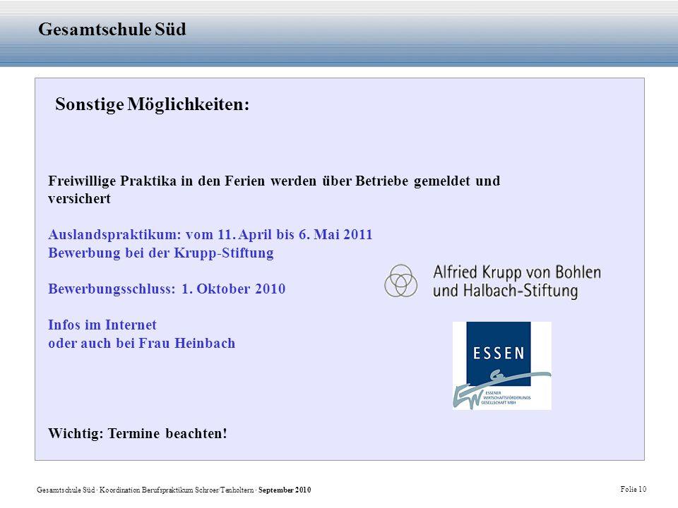 Gesamtschule Süd · Koordination Berufspraktikum Schroer/Tenholtern · September 2010 Folie 10 Gesamtschule Süd Sonstige Möglichkeiten: Freiwillige Prak