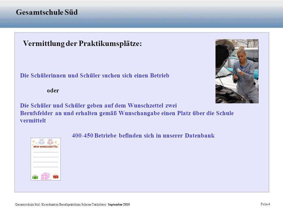 Gesamtschule Süd · Koordination Berufspraktikum Schroer/Tenholtern · September 2010 Folie 4 Gesamtschule Süd Vermittlung der Praktikumsplätze: Die Sch