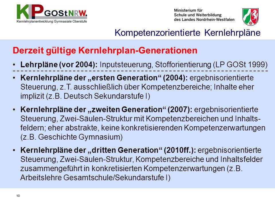 """10 Derzeit gültige Kernlehrplan-Generationen Lehrpläne (vor 2004): Inputsteuerung, Stofforientierung (LP GOSt 1999) Kernlehrpläne der """"ersten Generati"""
