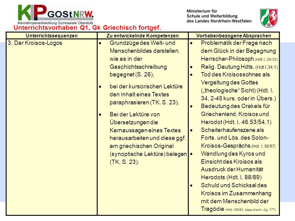 50 Unterrichtsvorhaben Q1, Gk Griechisch fortgef. UnterrichtssequenzenZu entwickelnde KompetenzenVorhabenbezogene Absprachen 3. Der Kroisos-Logos  Gr