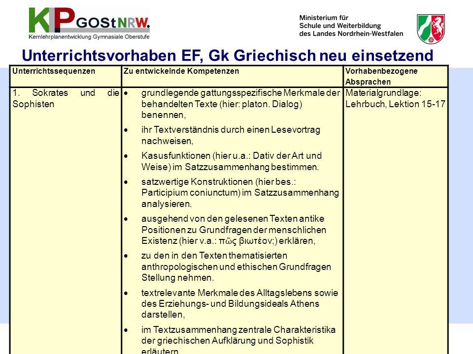 58 Unterrichtsvorhaben EF, Gk Griechisch neu einsetzend UnterrichtssequenzenZu entwickelnde Kompetenzen Vorhabenbezogene Absprachen 1. Sokrates und di