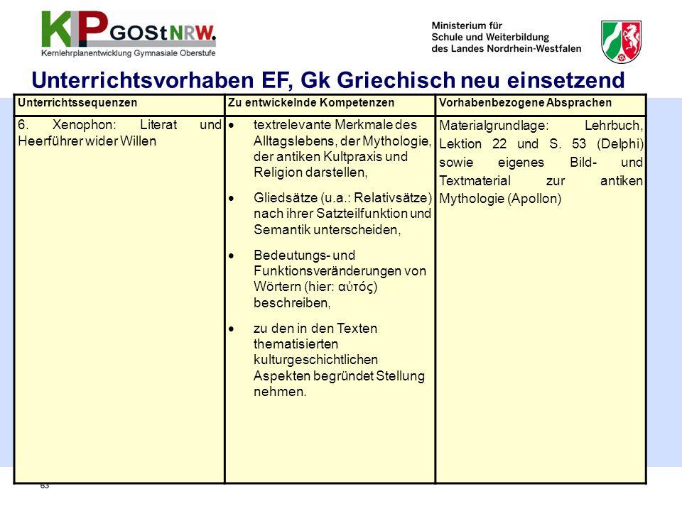 63 Unterrichtsvorhaben EF, Gk Griechisch neu einsetzend UnterrichtssequenzenZu entwickelnde KompetenzenVorhabenbezogene Absprachen 6. Xenophon: Litera