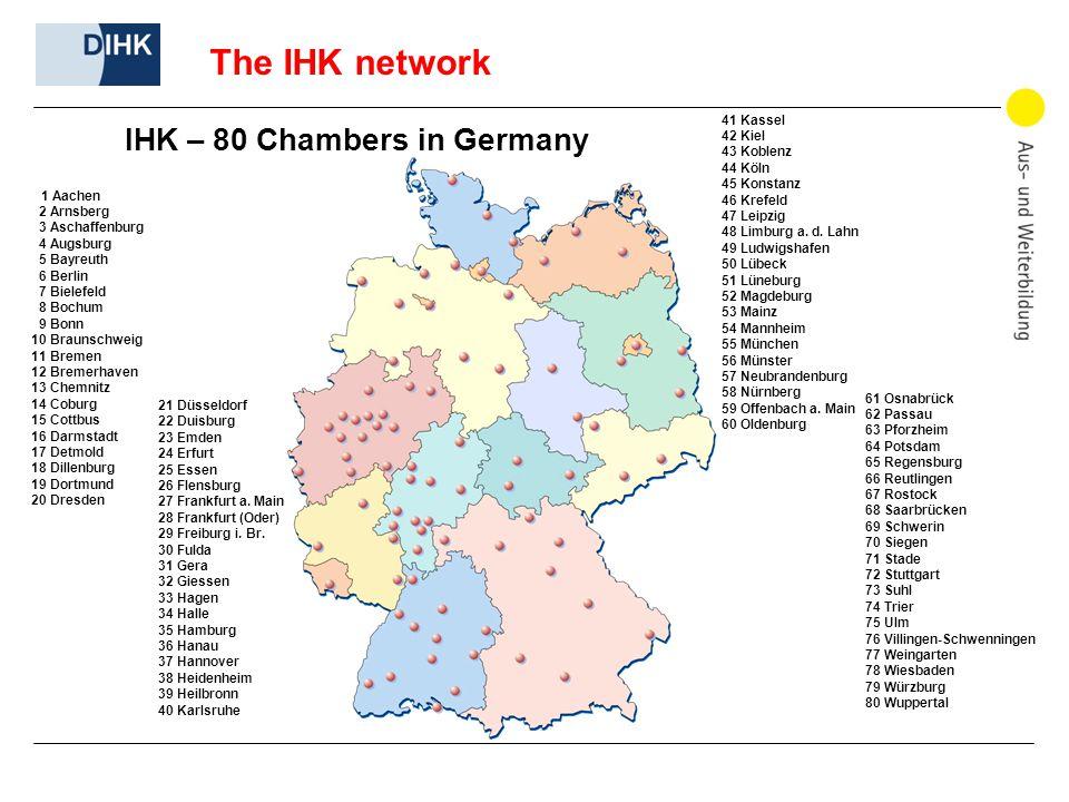 The IHK network IHK – 80 Chambers in Germany 1 Aachen 2 Arnsberg 3 Aschaffenburg 4 Augsburg 5 Bayreuth 6 Berlin 7 Bielefeld 8 Bochum 9 Bonn 10 Braunschweig 11 Bremen 12 Bremerhaven 13 Chemnitz 14 Coburg 15 Cottbus 16 Darmstadt 17 Detmold 18 Dillenburg 19 Dortmund 20 Dresden 41 Kassel 42 Kiel 43 Koblenz 44 Köln 45 Konstanz 46 Krefeld 47 Leipzig 48 Limburg a.