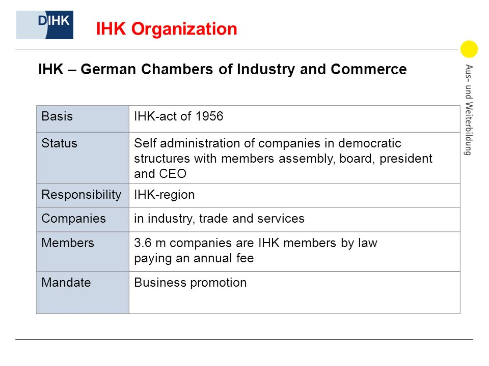 IHK Organization IHK – German Chambers of Industry and Commerce BasisIHK-act of 1956 StatusSelf administration of companies in democratic structures with members assembly, board, president and CEO ResponsibilityIHK-region Companiesin industry, trade and services Members3.6 m companies are IHK members by law paying an annual fee MandateBusiness promotion