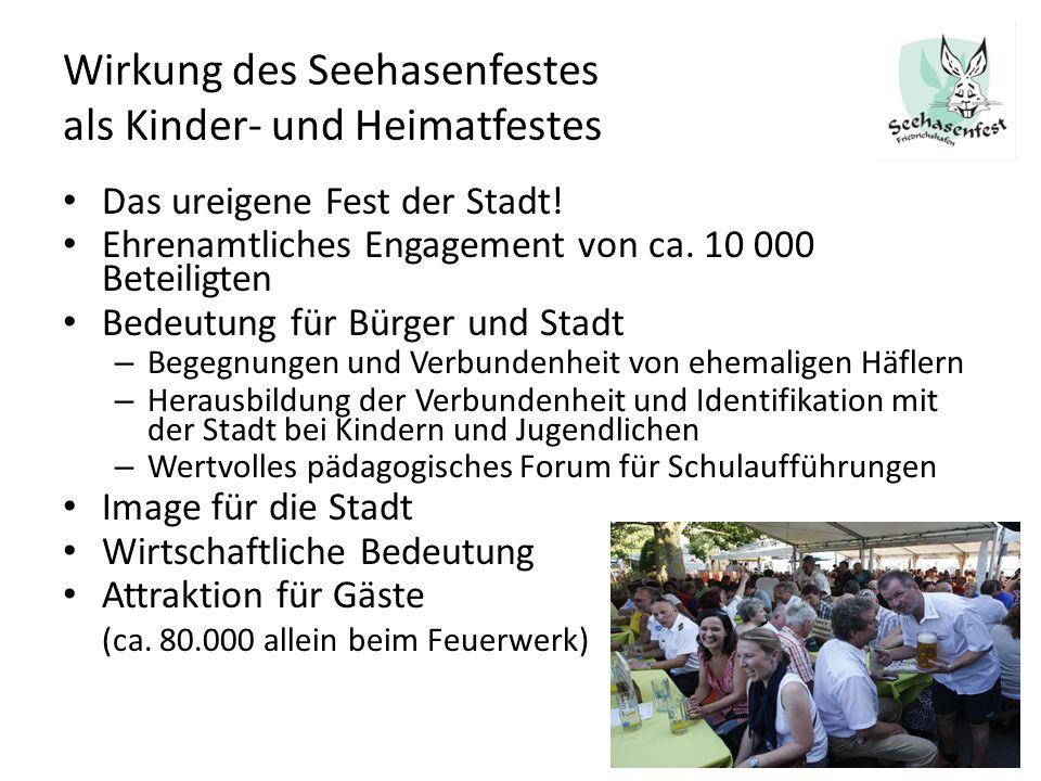 Wirkung des Seehasenfestes als Kinder- und Heimatfestes Das ureigene Fest der Stadt! Ehrenamtliches Engagement von ca. 10 000 Beteiligten Bedeutung fü