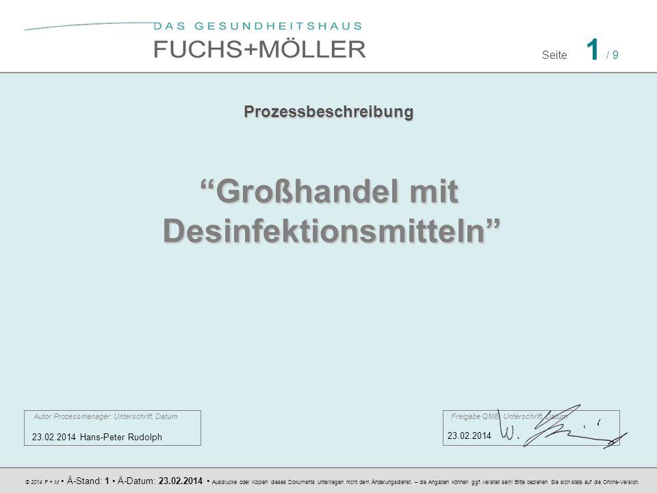 © 2014 F + M Ä-Stand: 1 Ä-Datum: 23.02.2014 Ausdrucke oder Kopien dieses Dokuments unterliegen nicht dem Änderungsdienst – die Angaben können ggf. ver