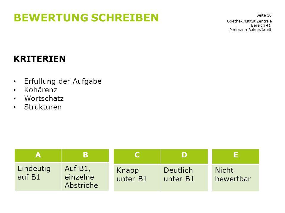 Seite 10 BEWERTUNG SCHREIBEN KRITERIEN Erfüllung der Aufgabe Kohärenz Wortschatz Strukturen Goethe-Institut Zentrale Bereich 41 Perlmann-Balme/Arndt A