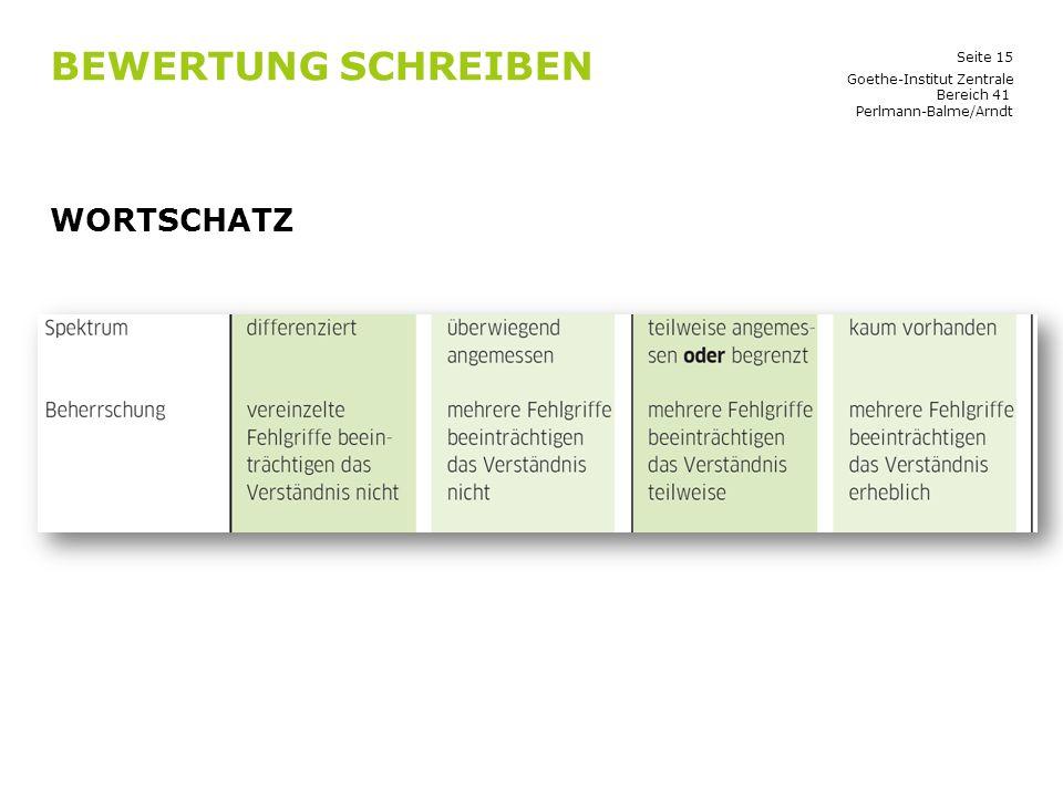 Seite 15 BEWERTUNG SCHREIBEN WORTSCHATZ Goethe-Institut Zentrale Bereich 41 Perlmann-Balme/Arndt