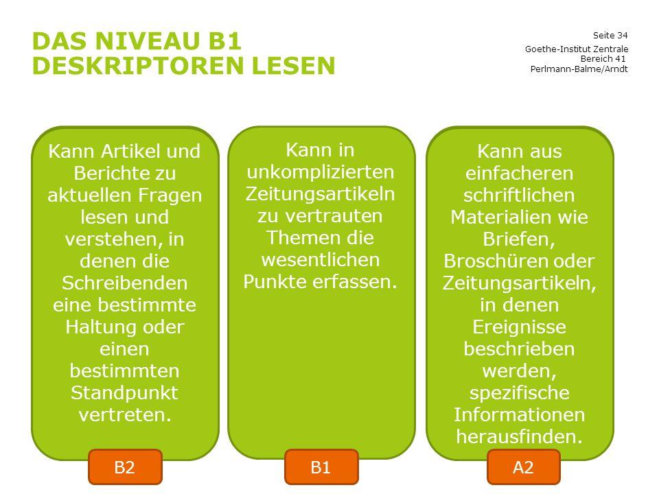 Seite 34 DAS NIVEAU B1 DESKRIPTOREN LESEN Goethe-Institut Zentrale Bereich 41 Perlmann-Balme/Arndt Kann eine einfache Beschreibung von Menschen, Leben