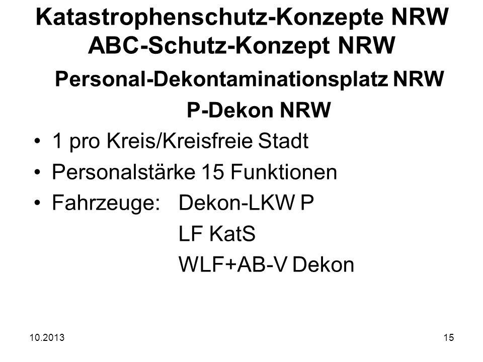 10.201315 Personal-Dekontaminationsplatz NRW P-Dekon NRW 1 pro Kreis/Kreisfreie Stadt Personalstärke 15 Funktionen Fahrzeuge: Dekon-LKW P LF KatS WLF+AB-V Dekon Katastrophenschutz-Konzepte NRW ABC-Schutz-Konzept NRW