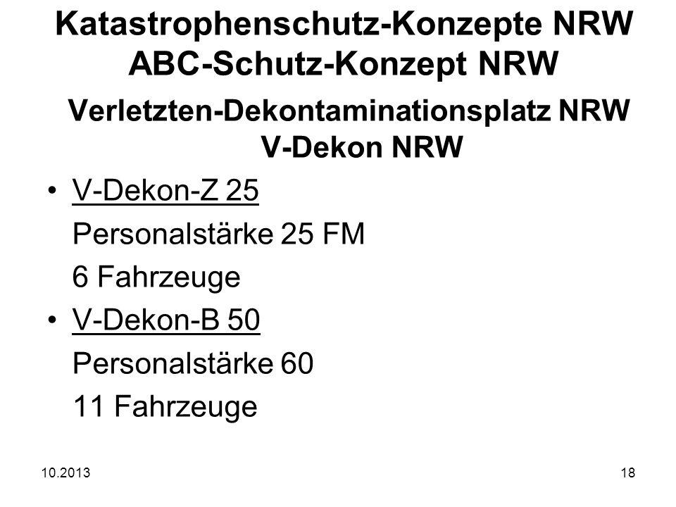 10.201318 Verletzten-Dekontaminationsplatz NRW V-Dekon NRW V-Dekon-Z 25 Personalstärke 25 FM 6 Fahrzeuge V-Dekon-B 50 Personalstärke 60 11 Fahrzeuge Katastrophenschutz-Konzepte NRW ABC-Schutz-Konzept NRW