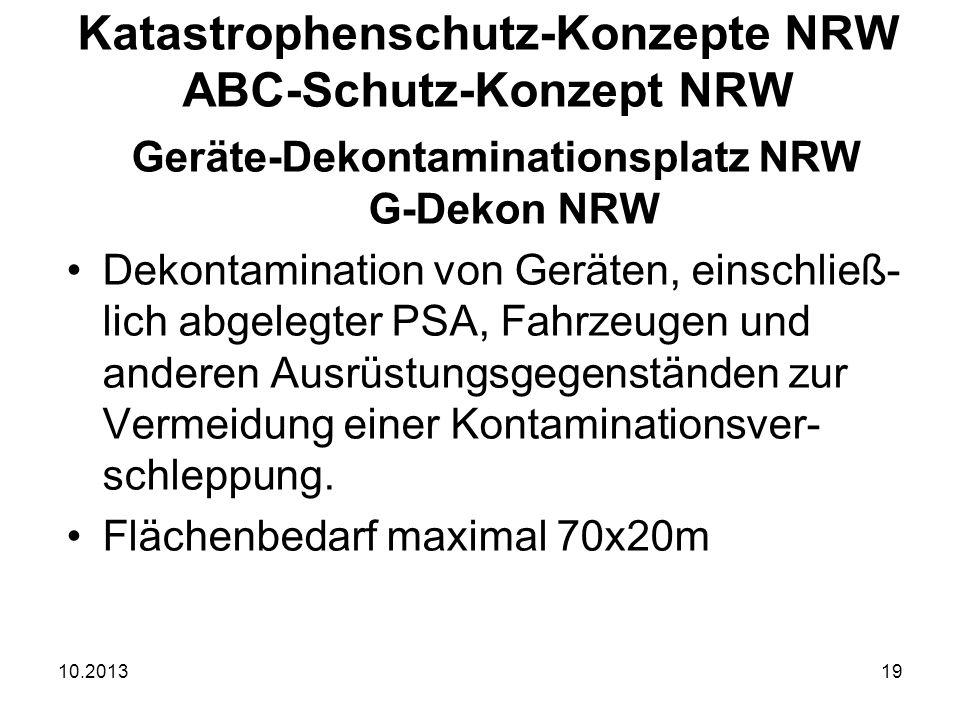10.201319 Geräte-Dekontaminationsplatz NRW G-Dekon NRW Dekontamination von Geräten, einschließ- lich abgelegter PSA, Fahrzeugen und anderen Ausrüstungsgegenständen zur Vermeidung einer Kontaminationsver- schleppung.