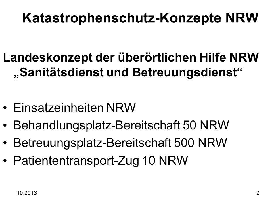 10.201313 ABC-Bereitschaft NRW ABC-B NRW Setzt sich aus ABC-Einheiten des Regierungsbezirk zusammen ELW 2, 2x ABC-Z NRW, Mess-Z NRW, P- Dekon 30 NRW + GW-L2 Personalstärke 98 Funktionen 4 Fahrzeuge Katastrophenschutz-Konzepte NRW ABC-Schutz-Konzept NRW