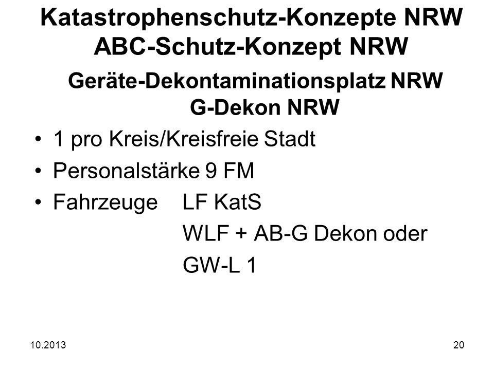 10.201320 Geräte-Dekontaminationsplatz NRW G-Dekon NRW 1 pro Kreis/Kreisfreie Stadt Personalstärke 9 FM FahrzeugeLF KatS WLF + AB-G Dekon oder GW-L 1 Katastrophenschutz-Konzepte NRW ABC-Schutz-Konzept NRW