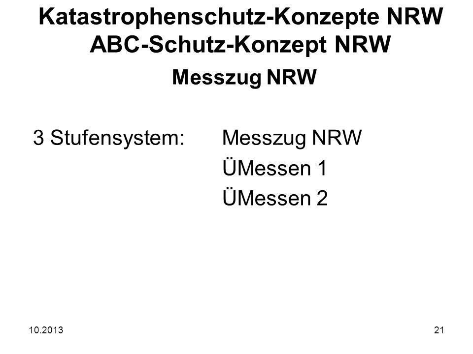10.201321 Messzug NRW 3 Stufensystem:Messzug NRW ÜMessen 1 ÜMessen 2 Katastrophenschutz-Konzepte NRW ABC-Schutz-Konzept NRW