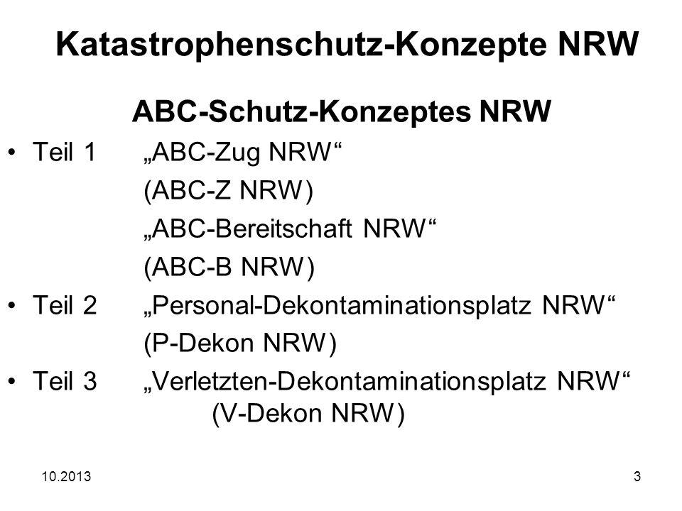 "10.20133 ABC-Schutz-Konzeptes NRW Teil 1""ABC-Zug NRW (ABC-Z NRW) ""ABC-Bereitschaft NRW (ABC-B NRW) Teil 2""Personal-Dekontaminationsplatz NRW (P-Dekon NRW) Teil 3""Verletzten-Dekontaminationsplatz NRW (V-Dekon NRW) Katastrophenschutz-Konzepte NRW"