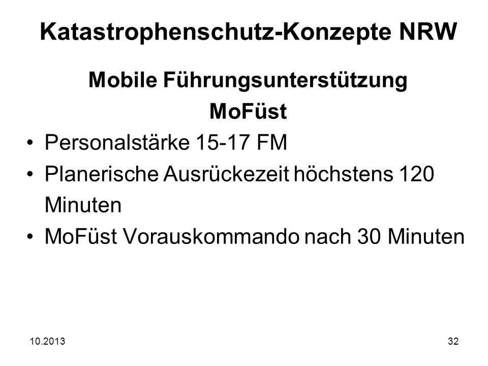 10.201332 Mobile Führungsunterstützung MoFüst Personalstärke 15-17 FM Planerische Ausrückezeit höchstens 120 Minuten MoFüst Vorauskommando nach 30 Minuten Katastrophenschutz-Konzepte NRW