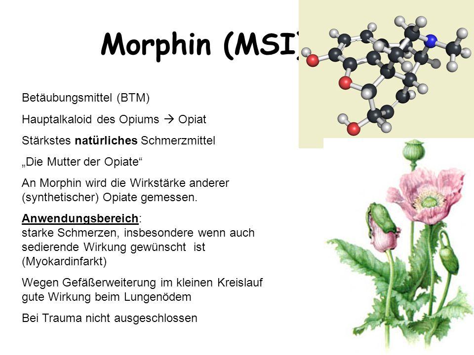 """ÄLRD Morphin (MSI) Betäubungsmittel (BTM) Hauptalkaloid des Opiums  Opiat Stärkstes natürliches Schmerzmittel """"Die Mutter der Opiate"""" An Morphin wird"""