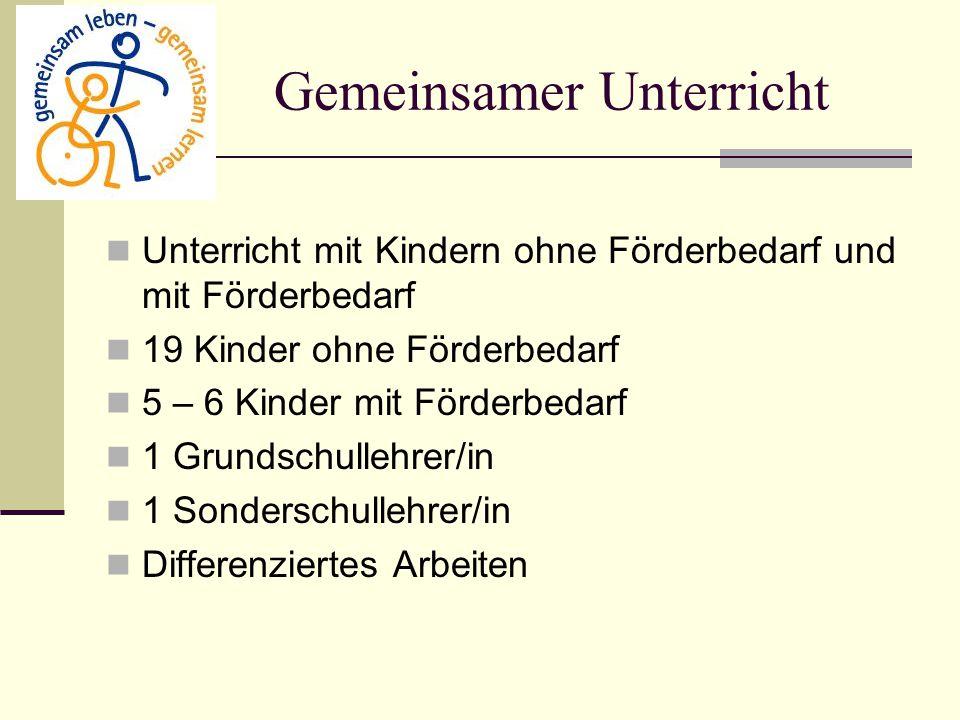 Gemeinsamer Unterricht Unterricht mit Kindern ohne Förderbedarf und mit Förderbedarf 19 Kinder ohne Förderbedarf 5 – 6 Kinder mit Förderbedarf 1 Grund
