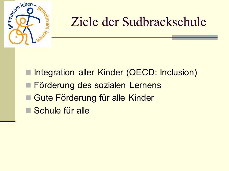 Ziele der Sudbrackschule Integration aller Kinder (OECD: Inclusion) Förderung des sozialen Lernens Gute Förderung für alle Kinder Schule für alle