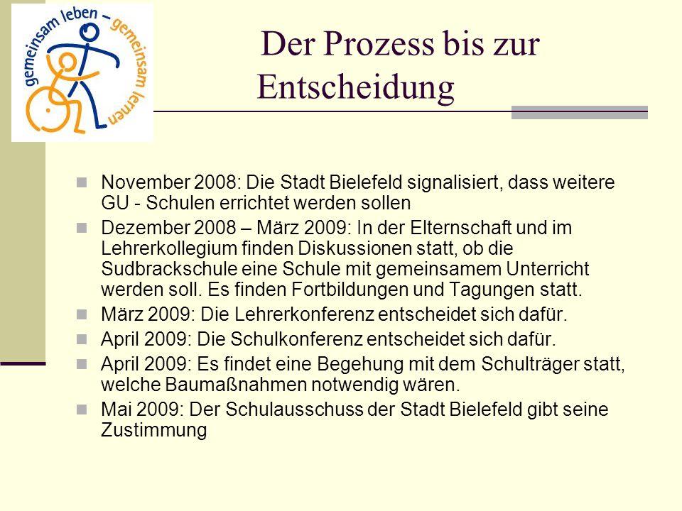 Der Prozess bis zur Entscheidung November 2008: Die Stadt Bielefeld signalisiert, dass weitere GU - Schulen errichtet werden sollen Dezember 2008 – Mä