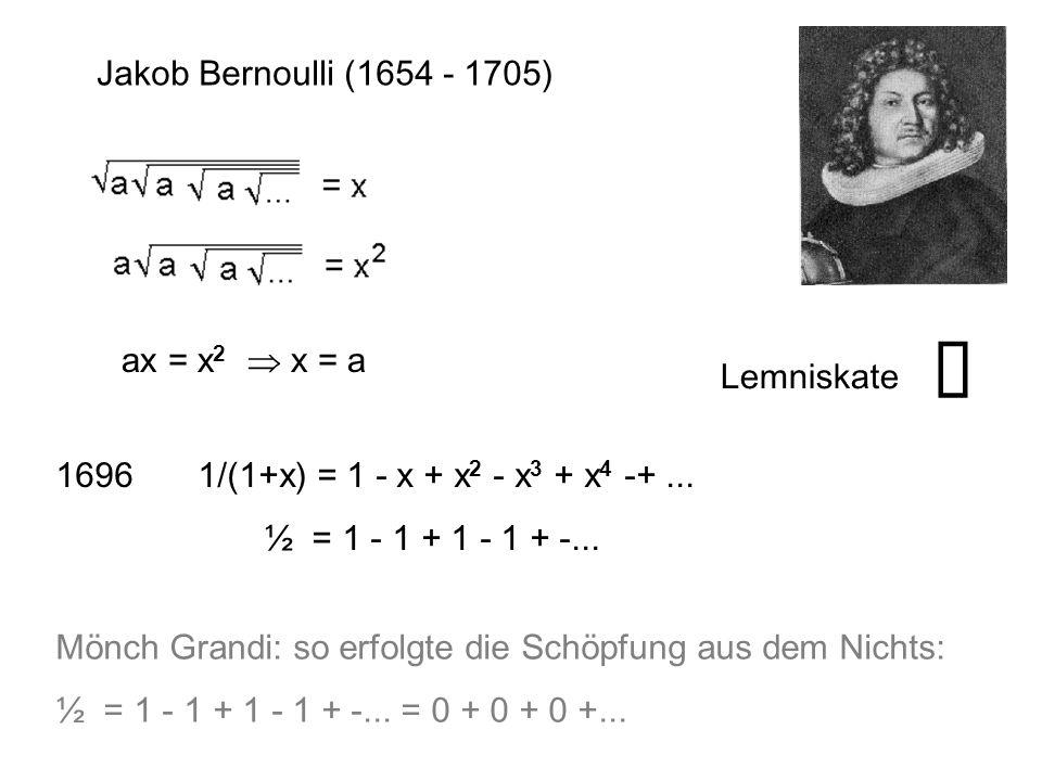 Jakob Bernoulli (1654 - 1705) ax = x 2  x = a 1696 1/(1+x) = 1 - x + x 2 - x 3 + x 4 -+... ½ = 1 - 1 + 1 - 1 + -... Mönch Grandi: so erfolgte die Sch