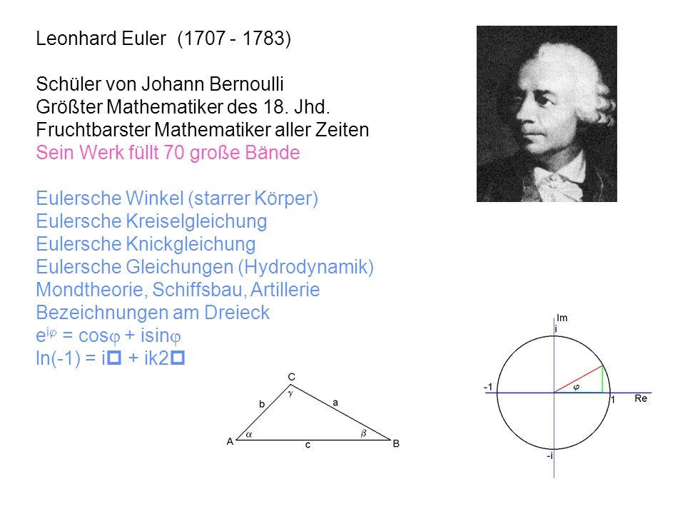 Leonhard Euler (1707 - 1783) Schüler von Johann Bernoulli Größter Mathematiker des 18. Jhd. Fruchtbarster Mathematiker aller Zeiten Sein Werk füllt 70