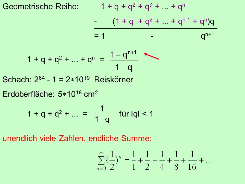 Geometrische Reihe:1 + q + q 2 + q 3 +... + q n - (1 + q + q 2 +... + q n-1 + q n )q = 1 - q n+1 1 + q + q 2 +... + q n = Schach: 2 64 - 1 = 2  10 19