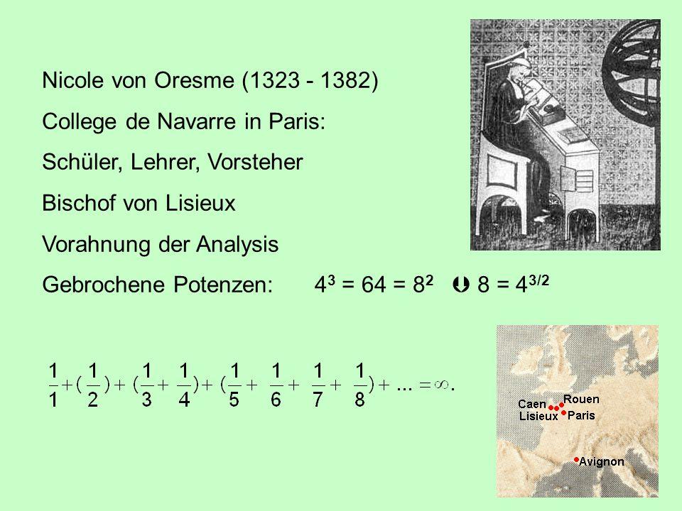 Nicole von Oresme (1323 - 1382) College de Navarre in Paris: Schüler, Lehrer, Vorsteher Bischof von Lisieux Vorahnung der Analysis Gebrochene Potenzen:4 3 = 64 = 8 2  8 = 4 3/2