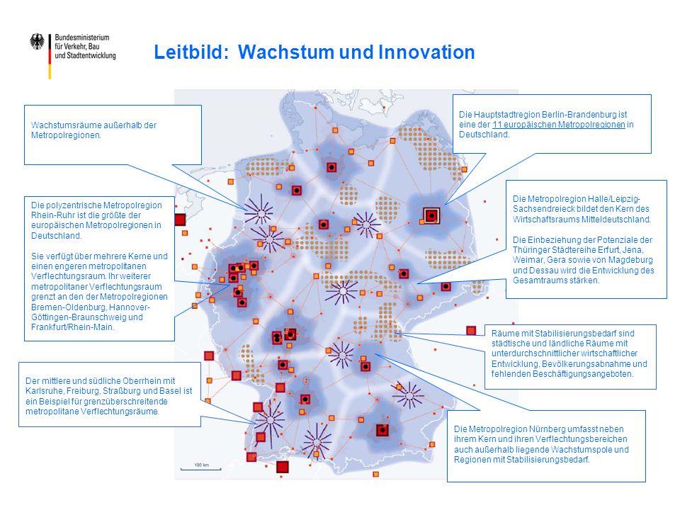 Leitbild: Wachstum und Innovation Die polyzentrische Metropolregion Rhein-Ruhr ist die größte der europäischen Metropolregionen in Deutschland. Sie ve