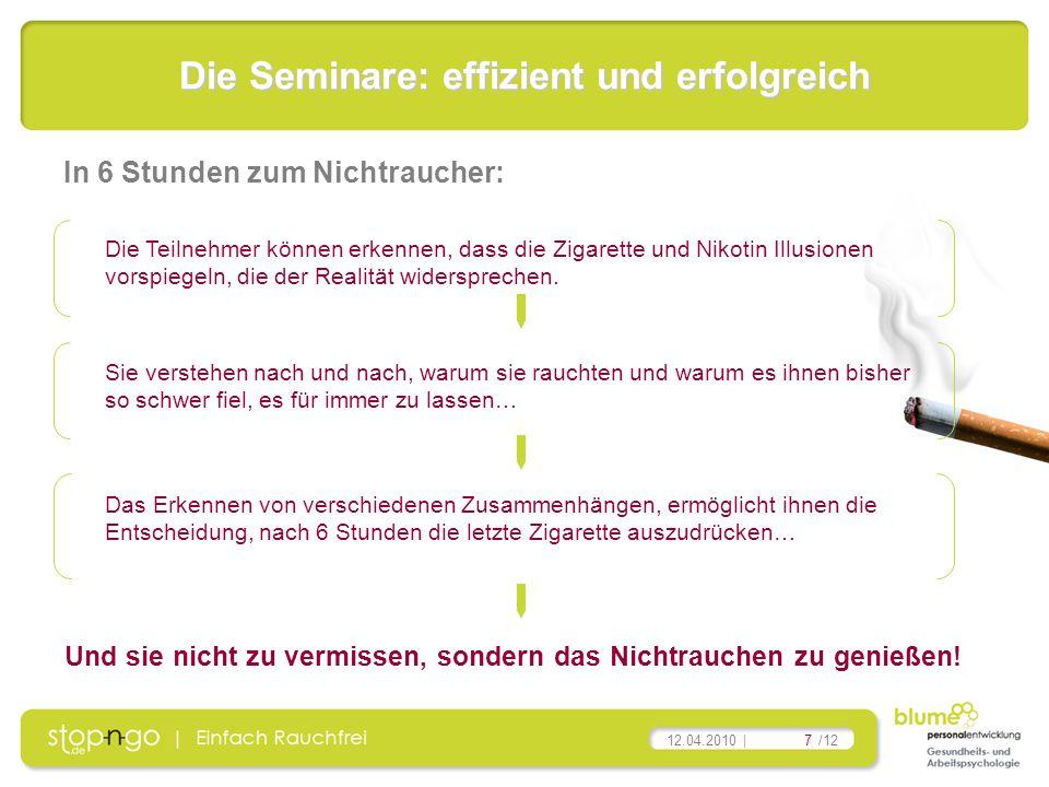 7/12 12.04.2010 | Die Seminare: effizient und erfolgreich Die Teilnehmer können erkennen, dass die Zigarette und Nikotin Illusionen vorspiegeln, die d
