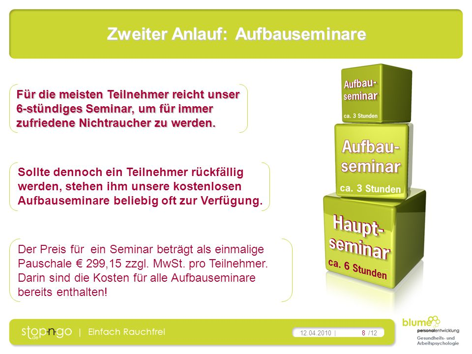 8/12 12.04.2010 | Der Preis für ein Seminar beträgt als einmalige Pauschale € 299,15 zzgl. MwSt. pro Teilnehmer. Darin sind die Kosten für alle Aufbau
