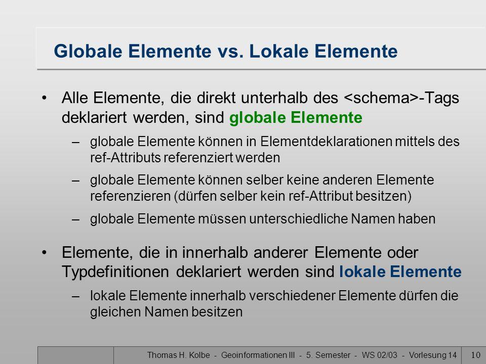 Thomas H. Kolbe - Geoinformationen III - 5. Semester - WS 02/03 - Vorlesung 14 10 Globale Elemente vs. Lokale Elemente Alle Elemente, die direkt unter