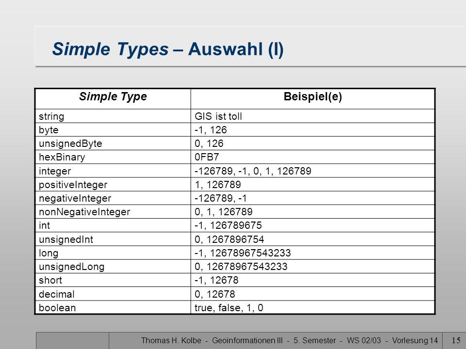 Thomas H. Kolbe - Geoinformationen III - 5. Semester - WS 02/03 - Vorlesung 14 15 Simple Types – Auswahl (I) Simple TypeBeispiel(e) stringGIS ist toll