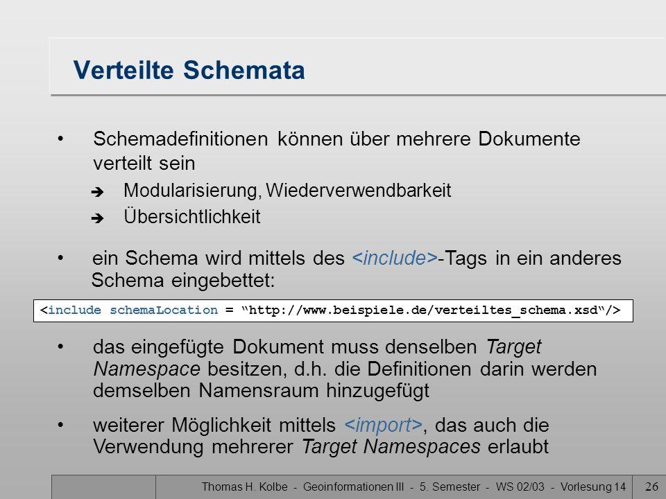 Thomas H. Kolbe - Geoinformationen III - 5. Semester - WS 02/03 - Vorlesung 14 26 Verteilte Schemata Schemadefinitionen können über mehrere Dokumente