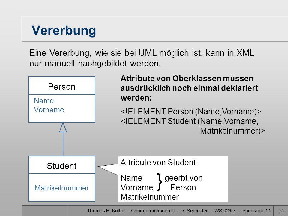 Thomas H. Kolbe - Geoinformationen III - 5. Semester - WS 02/03 - Vorlesung 14 27 Vererbung Attribute von Oberklassen müssen ausdrücklich noch einmal
