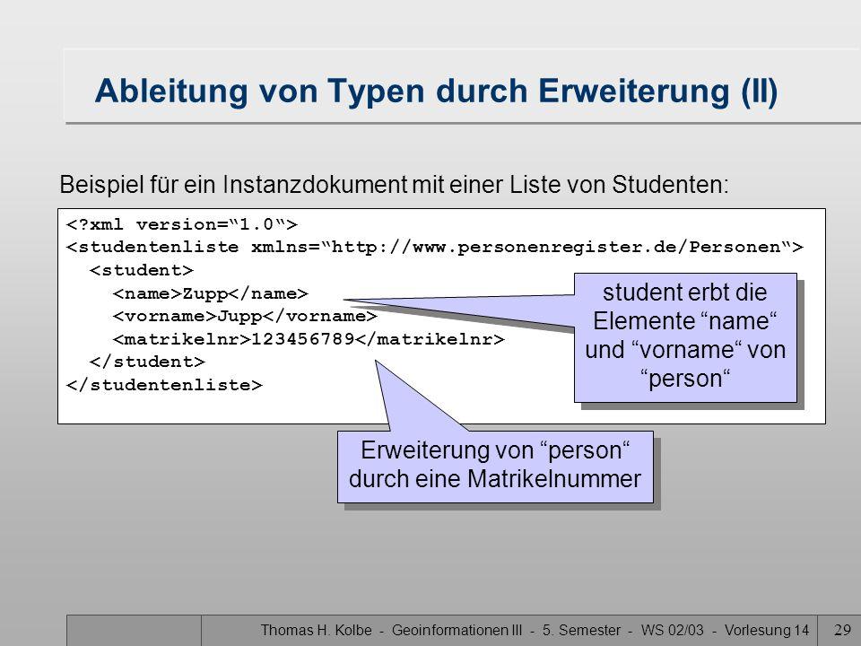 Thomas H. Kolbe - Geoinformationen III - 5. Semester - WS 02/03 - Vorlesung 14 29 Ableitung von Typen durch Erweiterung (II) Zupp Jupp 123456789 Beisp