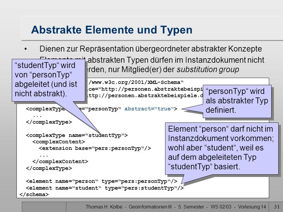 Thomas H. Kolbe - Geoinformationen III - 5. Semester - WS 02/03 - Vorlesung 14 31 Abstrakte Elemente und Typen Dienen zur Repräsentation übergeordnete