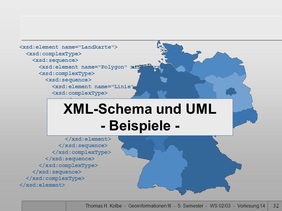 Thomas H. Kolbe - Geoinformationen III - 5. Semester - WS 02/03 - Vorlesung 14 32 XML-Schema und UML - Beispiele -