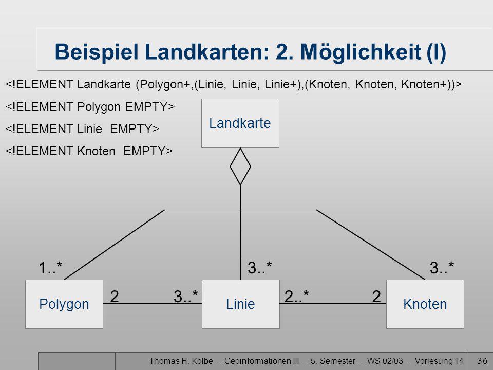 Thomas H. Kolbe - Geoinformationen III - 5. Semester - WS 02/03 - Vorlesung 14 36 Beispiel Landkarten: 2. Möglichkeit (I) Landkarte PolygonLinieKnoten