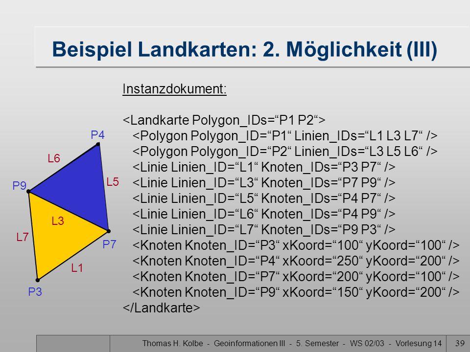 Thomas H. Kolbe - Geoinformationen III - 5. Semester - WS 02/03 - Vorlesung 14 39 Beispiel Landkarten: 2. Möglichkeit (III) Instanzdokument: P9 P4 P7