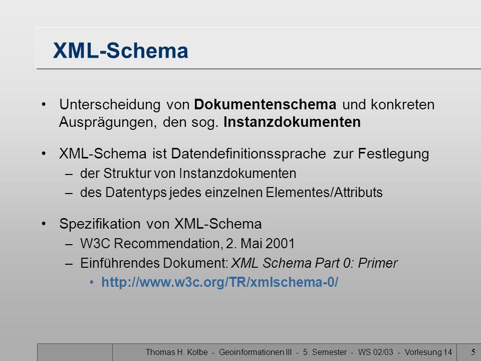 Thomas H. Kolbe - Geoinformationen III - 5. Semester - WS 02/03 - Vorlesung 14 5 XML-Schema Unterscheidung von Dokumentenschema und konkreten Ausprägu