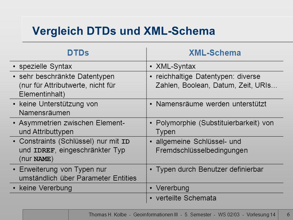 Thomas H. Kolbe - Geoinformationen III - 5. Semester - WS 02/03 - Vorlesung 14 6 Vergleich DTDs und XML-Schema DTDsXML-Schema spezielle Syntax XML-Syn