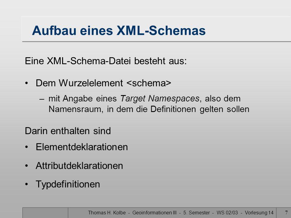 Thomas H. Kolbe - Geoinformationen III - 5. Semester - WS 02/03 - Vorlesung 14 7 Aufbau eines XML-Schemas Eine XML-Schema-Datei besteht aus: Dem Wurze