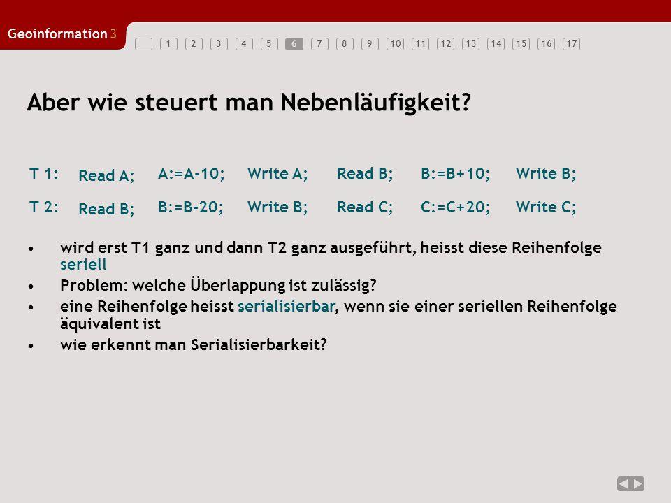 1234567891011121314151617 Geoinformation3 7 Beispiele A 3x T 1 A:=A-10 Read B Write B Read A Write A B:=B+10 T 2T 1T 2T 1T 2 B:=B-20 Read C Write C Read B Write B C:=C+20 A:=A-10 Read B Write B Read A Write A B:=B+10 B:=B-20 Read C Write C Read B Write B C:=C+20 A:=A-10 Lock A Lock B Unlock A B:=B-20 Lock B Unlock B B:=B+10 Lock C Unlock B C:=C+20 Unlock C seriellserialisierbarnicht serialisierbar