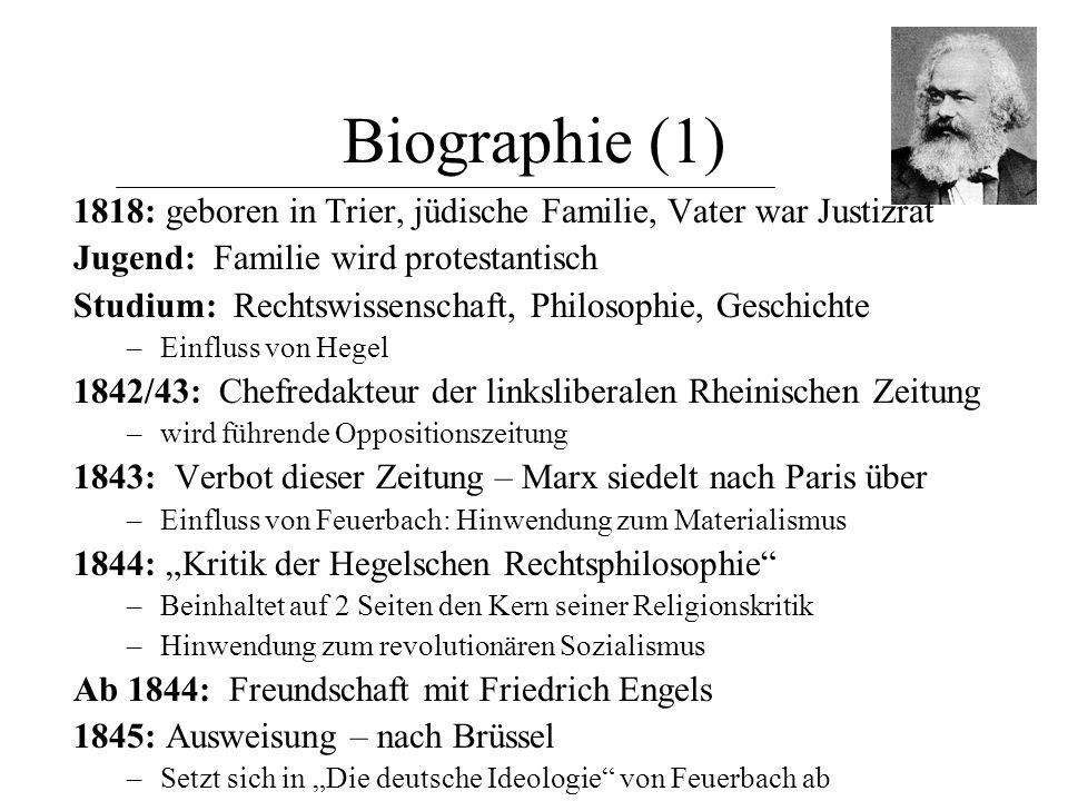 """Biographie (2) Februar 1848: """"Das kommunistische Manifest – Ein Gespenst geht um in Europa – das Gespenst des Kommunismus. –im Auftrag des Bundes der Kommunisten (London) –radikale Kritik der bürgerlichen Ökonomie und Gesellschaft –Aufruf zum Klassenkampf –wendet sich an das internationale Proletariat."""